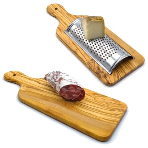 Grater Olive wood cutting board: two in one