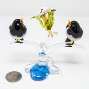 Composizione uccellini e fiori