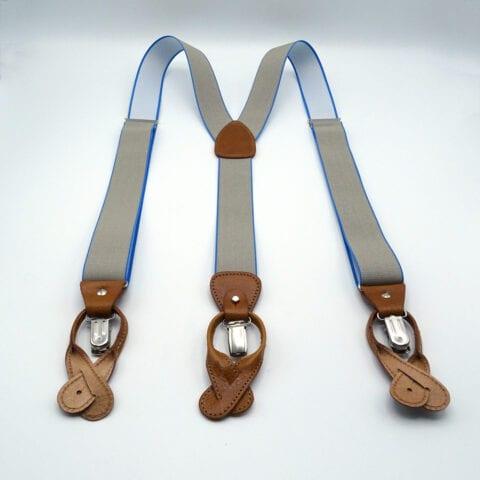 Bretella artigianale grigio azzurro cuoio 11
