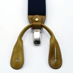 Bretelle con inserti in cuoio tamponato