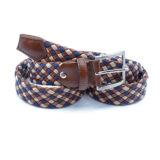 Cintura intrecciata in pelle e filo di cotone