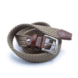 Cintura in corda con inserti in cuoio