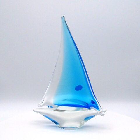 Barchetta a vela in vetro di Murano – Grande