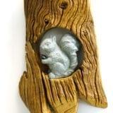 Animaletti del bosco in pietra ollare su legno