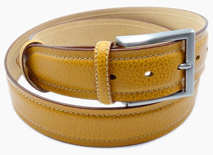 AMI Art Made Italy cintura di pelle gialla